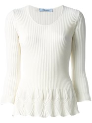 Blumarine Flared Knit Top White
