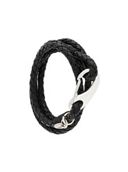 Eleventy Interlaced Leather Bracelet Black