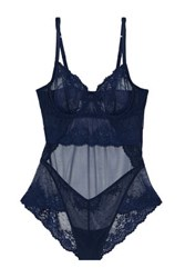 Mimi Holliday Embroidered Lace And Point D'esprit Paneled Tulle Chemise Blue