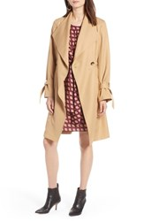 Halogen Tie Sleeve Trench Coat Khaki
