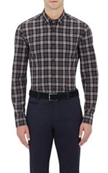 Z Zegna Plaid Button Front Shirt Blue
