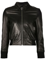 R 13 R13 Cropped Leather Jacket Black