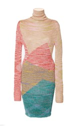 Missoni Geometric Long Sleeve Turtleneck Dress Multi
