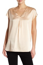 Vince Short Sleeve Pleated Silk Blouse Pink