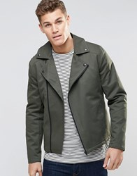 Asos Biker Jacket In Cotton In Khaki Khaki Green
