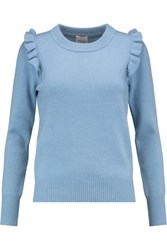 Madeleine Thompson Crete Ruffle Trimmed Wool And Cashmere Blend Sweater Light Blue