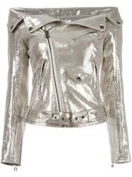 Faith Connexion Off Shoulders Glittery Biker Jacket Metallic