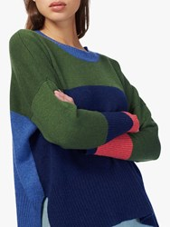 Brora Cashmere Colour Block Jumper French Navy