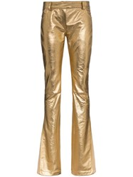 Ronald Van Der Kemp Metallic Flared Trousers Gold