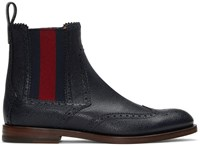 Gucci Navy Band Chelsea Boots