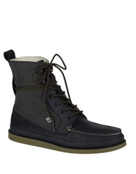 Sperry Moc Toe Canvas Lace Up Boots Black