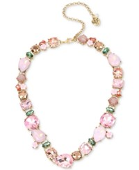 Betsey Johnson Gold Tone Pink Stone And Flower Collar Necklace Multi