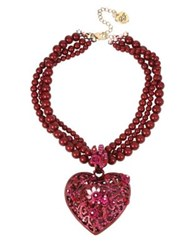 Betsey Johnson Semi Precious Stone And Crystal Flower Heart Multi Strands Necklace Red