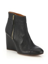 Lanvin Zip Up Leather Wedge Booties Black