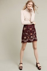 Anthropologie Regal Embroidered Mini Skirt Plum
