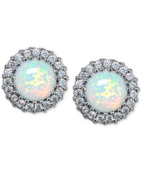 Giani Bernini Cubic Zirconia And Iridescent Stone Halo Stud Earrings In Sterling Silver Only At Macy's