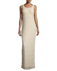 Mignon Sleeveless Embellished Lace Column Gown Buff
