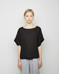 Black Crane Linen Square Top