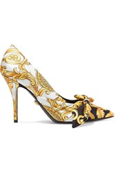 Versace Printed Silk Faille And Leather Pumps Gold