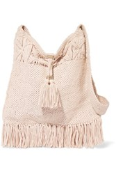 Melissa Odabash Mauritius Fringed Knitted Cotton Shoulder Bag Cream