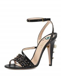 Gucci Wangy Jeweled Leather Sandal Black