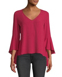 Bailey 44 Tatyana Ruffle Sleeve V Neck Top Red