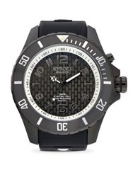 Kyboe Stainless Steel Textured Dial Silicone Strap Watch Black