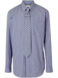 Burberry Chevron Striped Cotton Shirt And Tie Twinset Blue