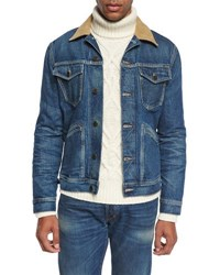 Tom Ford Denim Corduroy Collar Jacket Blue