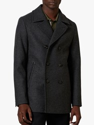 Ted Baker Westun Double Breasted Wool Pea Coat Grey Charcoal