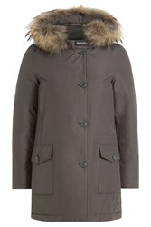 Woolrich Down Parka With Fur Trimmed Hood Grey