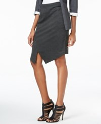 Kensie Envelope Hem Ponte Skirt Heather Dark Grey