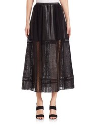 Thakoon Crochet Inset Leather Maxi Skirt