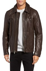Andrew Marc New York Men's Outpost Leather Shirt Collar Jacket Espresso