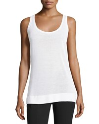Michael Kors Collection Scoop Neck Sleeveless Long Tank White Women's Size L