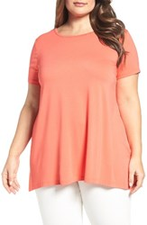 Vince Camuto Plus Size Women's High Low Mixed Media Tee