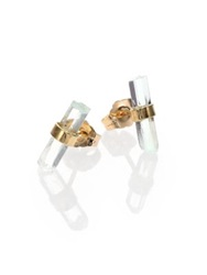 Jacquie Aiche Aquamarine And 14K Yellow Gold Small Bar Stud Earrings