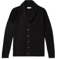 John Smedley Patterson Shawl Collar Wool And Cashmere Blend Cardigan Black