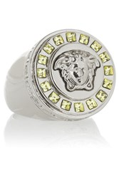 Versace Silver Tone Crystal Ring