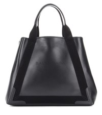Balenciaga Navy Cabas M Leather Tote Black