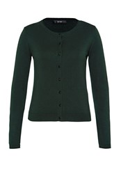 Hallhuber Crop Cardigan With Decorative Buttons Green