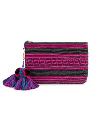 Yosuzi Woven Canvas Pouch With Pompom Tassels Women Straw One Size Black