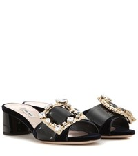 Miu Miu Embellished Velvet And Patent Leather Sandals Black