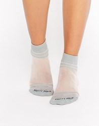 Pretty Polly Sheer Top And Toe Stripe Sock Grey