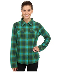 Prana Bridget Lined Shirt Deep Jade Women's Long Sleeve Button Up Navy