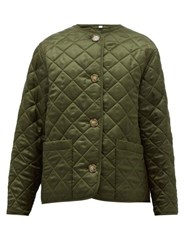 Burberry Quilted Logo Jacquard Twill Jacket Olive Green