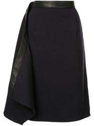Y Project Leather Trim Skirt Blue