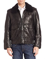 Andrew Marc New York Anchorage Shearling Trimmed Aviator Jacket Black
