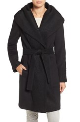 Calvin Klein Women's Boucle Trim Hooded Wrap Coat