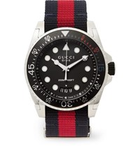 Gucci Dive Stainless Steel And Webbing Watch Black